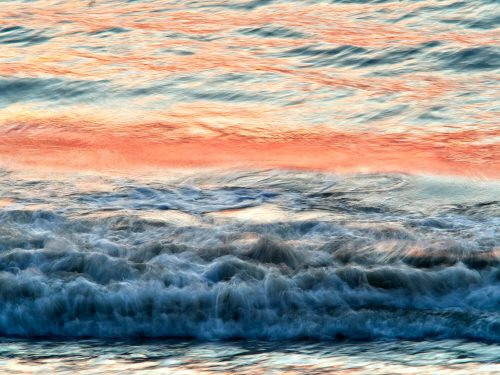 pink sky, slow motion photo, beautiful ocean water